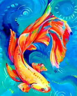 Colorful Betta Fish Art paint by numbers