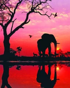Elephant Silhouette paint by numbers