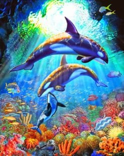 Orca Whales Underwater paint by numbers