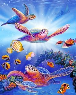 Sea Turtles And Fishes paint by numbers