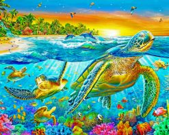 Tropical Fishes And Turtles paint by numbers