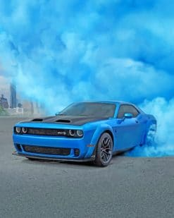 Cool Blue Car And Smoke paint by numbers