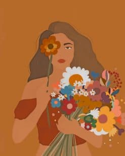 Girl With Tropical Flowers Paint by numbers