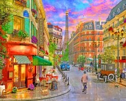 Paris France Street paint by numbers