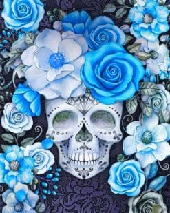 Skull And Cyan Flowers Paint by numbers