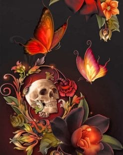 Skull Flower And Butterflies paint by numbers