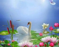 Swan And Lotus paint by numbers