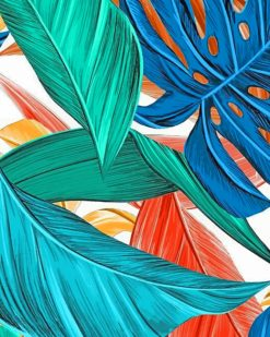 Tropical Leaves paint by numbers