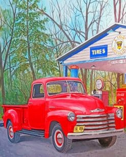 Vintage Red TruckPaint by numbers