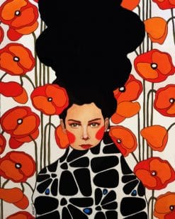 Woman And Orange Flowers paint by numbers