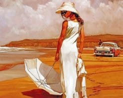 Woman With A White DressWoman With A White Dress paint by numbers