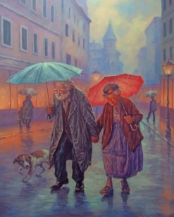 Old Couple In The Rain Paint by numbers