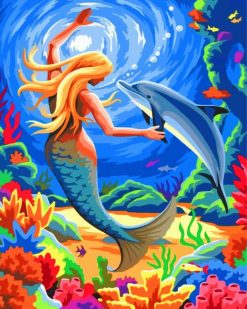 Mermaid And Dolphin paint by numbers