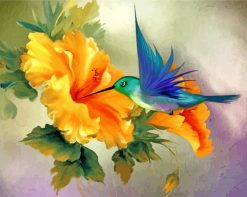 ORANGE-HIBISCUS-and-hummingbird-paint-by-number