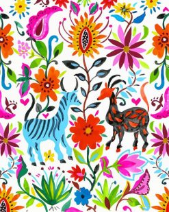 Otomi Flowers And Animals paint by numbers