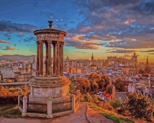 Sunset Dugald Stewart Monument paint by numbers