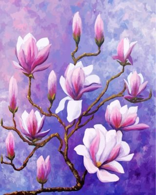 Magnolias Flowers paint by numbers